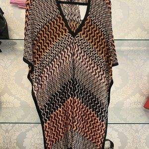 MISSONI MARE Multi-Color Striped Sheer Knit Blouse/Top/Cover Up